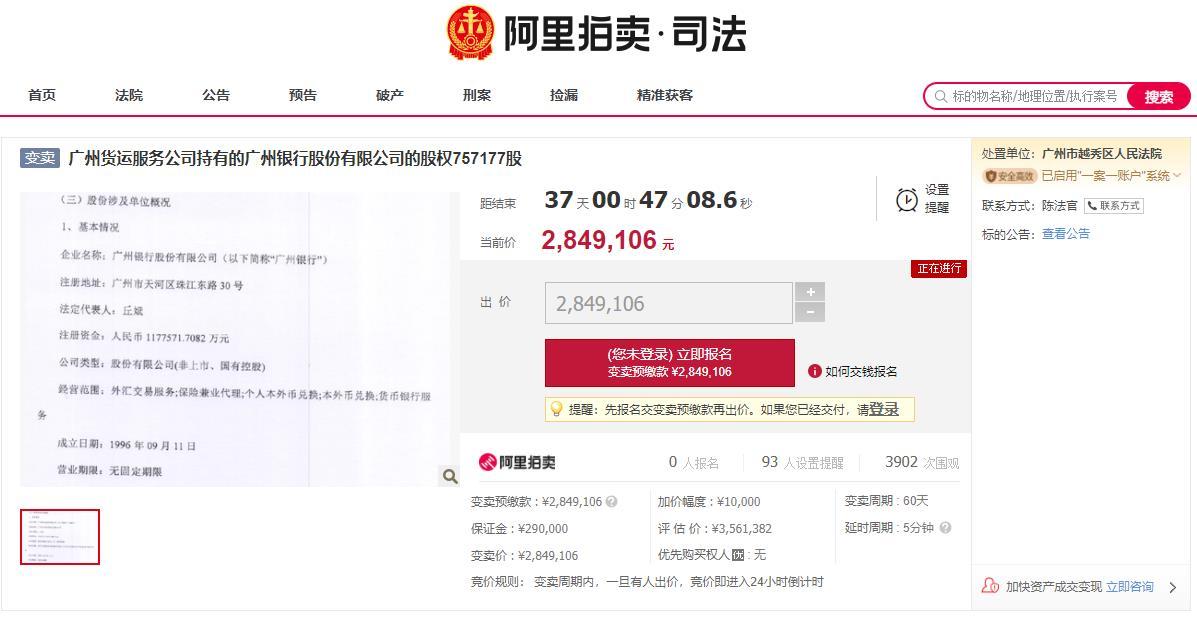 冲刺上市前广州银行75万股被拍卖三次 仅3.8元/股